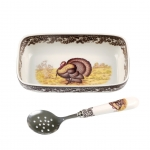 Woodland Turkey Cranberry Dish with Spoon